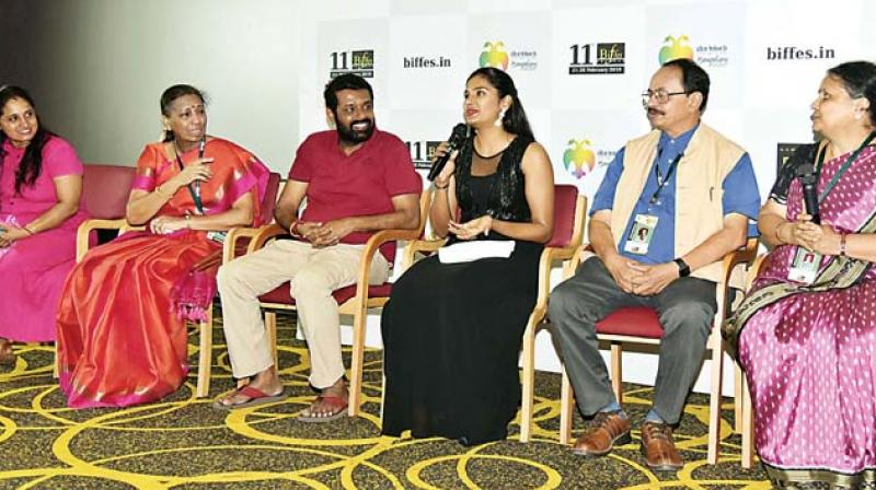 Champa Shetty, Purnima, Vasanth Rai, Lakshmi Rai, Nagathihalli Chandrashekhar, Gayatri at BIFFES 2019 on Tuesday