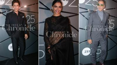 Bollywood celebrities gathered to celebrate 25 years of Zee. Most of them were spotted in a black attire, while Kangana Ranaut rocked it in white.
