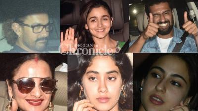 Several Bollywood stars turned up for a screening of Alia Bhatt and Vicky Kaushal starrer 'Raazi' held in Mumbai on Wednesday. (Photo: Viral Bhayani)
