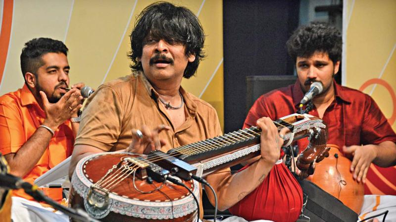 Veenai artist Rajesh Vaidya performs at Infosys Hall, Ramakrishna mission school, on Saturday. (Photo: DC)