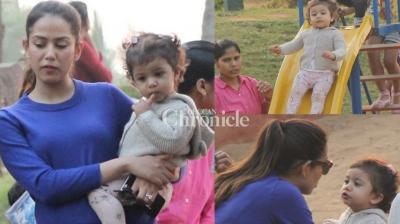 Shahid and Mira Kapoor's daughter Misha was snapped playing in a park in Mumbai on Thursday. (Photo: Viral Bhayani)