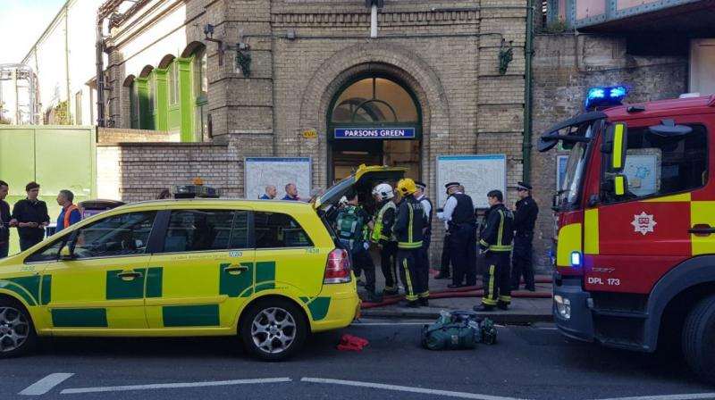 Police officers and ambulance staff on the scene following reports on social media of an explosion in London  (Photo: London Fire Brigade)