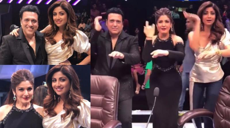 Govinda shilpa and raveena groove together as they reunite after 19 govinda and raveena tandon were the guests on the reality show super dancer altavistaventures Choice Image