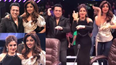 Govinda and Raveena Tandon were the guests on the reality show 'Super Dancer', where Shilpa Shetty Kundra was one of the judges during an episode shoot in Mumbai on Tuesday. (Photo: Instagram)