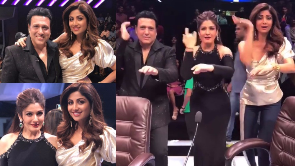 Govinda shilpa and raveena groove together as they reunite after govinda and raveena tandon were the guests on the reality show super dancer thecheapjerseys Images