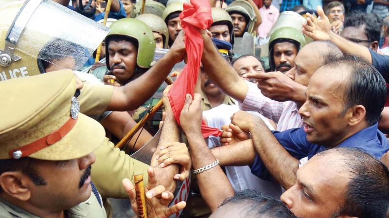 MLA Eldho Abraham in forefront of the agitation during a march to IG office by the CPI in Kochi on Tuesday  - (Photo: DC)