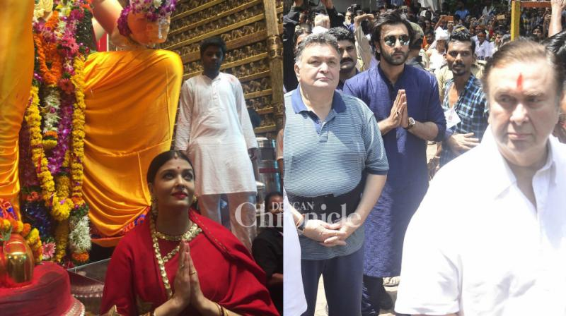 Bollywood stars like Aishwarya Rai Bachchan, Ranbir and Rishi Kapoor, among others were spotted on the occasion of Ganpati Visarjan in Mumbai on Tuesday. (Photo: Viral Bhayani)