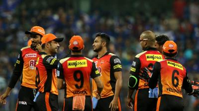 Sunrisers Hyderabad cricketers celebrate the wicket of Evin Lewis.(Photo: BCCI)