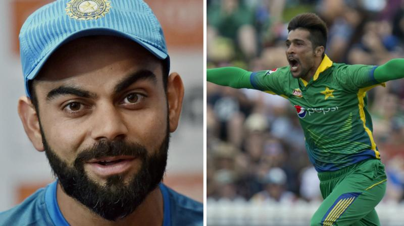 After Virat Kohli went gaga over Mohammad Amir, the Pakistani left-arm pacer returned the favour lauding the Indian skipper. (Photo: PTI / AP)
