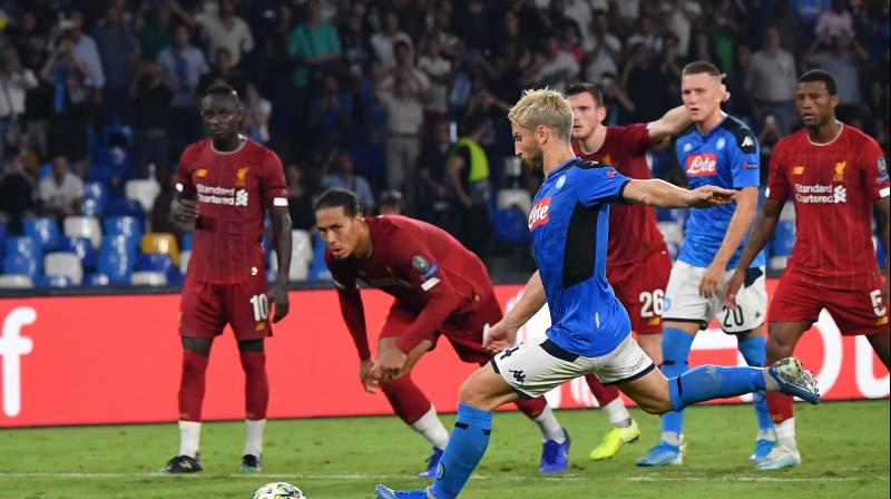 Dries Mertens scored from the penalty spot with eight minutes remaining after Andy Robertson tripped Jose Callejon inside the box and Napoli substitute Fernando Llorente added a second in stoppage time to put the result beyond doubt. (Photo:AFP)