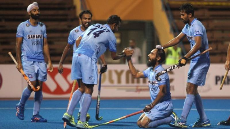 Rounding off their five outings with four wins and a draw, India topped the round- robin league standings with 13 points. (Photo: Hockey India)