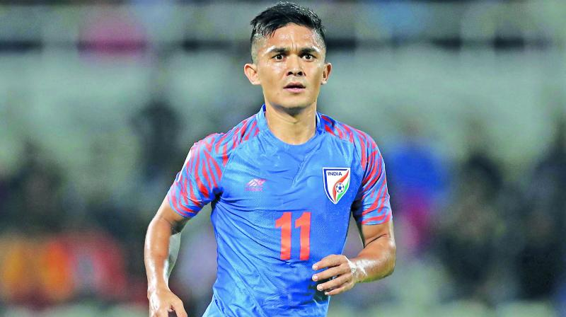 The Sunil Chhetri-led Indian team will leave for Dubai tonight and will also have a training session the next day morning before they fly to Dushanbe. (Photo: File)