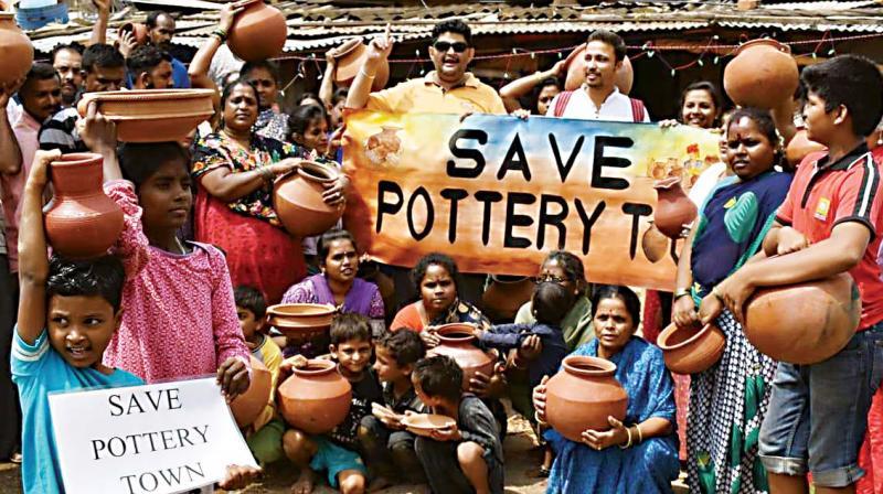 Activist Kumar Jahgirdhar leads a protest at Pottery Town