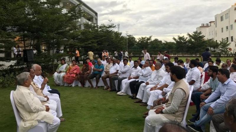 BJP legislators met at Hotel Ramada in Bengaluru. (Photo: ANI)