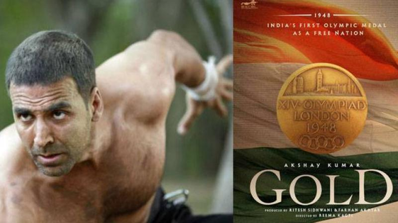 Akshay Kumar and the poster of the film 'Gold'. the film is produced by Farhan Akhtar and Ritesh Sidhwani's production Excel Entertainment.