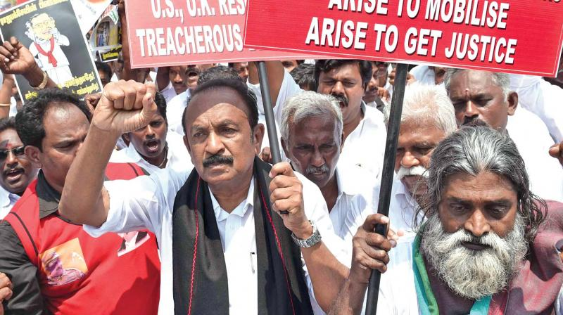 MDMK general secretary Vaiko protests at Nungambakkam, urging the Central government to oppose the proposed Human Rights Council of the UNHRC resolution to give more time to Sri Lanka to submit a report on war crimes (Photo: DC)