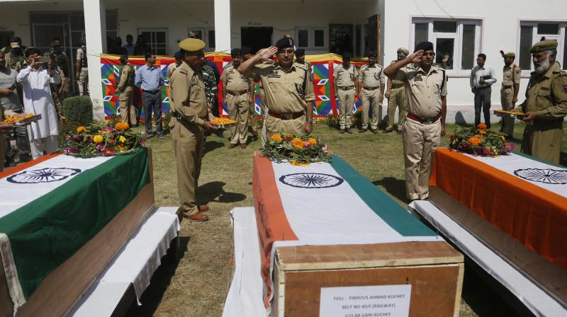 Three policemen were abducted from their homes in south Kashmir's Shopian district and shot dead in cold blood by the Hizbul Mujahideen on September 21. (Photo: File | PTI)