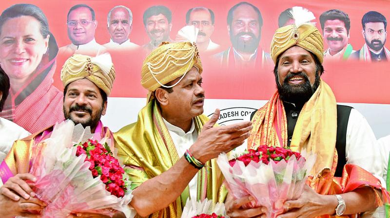 Congress MPs A. Revanth Reddy, Komatireddy Venkata Reddy and Uttam Kumar Reddy at Gandhi Bhavan on Tuesday. (Photo: S. Surender Reddy)