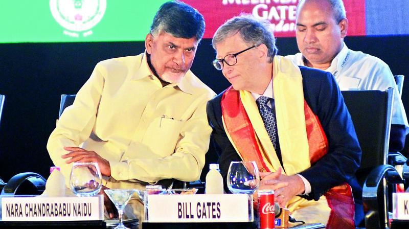 Chief Minister N. Chandrababu Naidu with the co-founder of Microsoft Bill Gates at the AP AgTech Summit 2017 valedictory programme at APIIC Grounds in Visakhapatnam on Friday. (Photo: K. Muralikrishna)