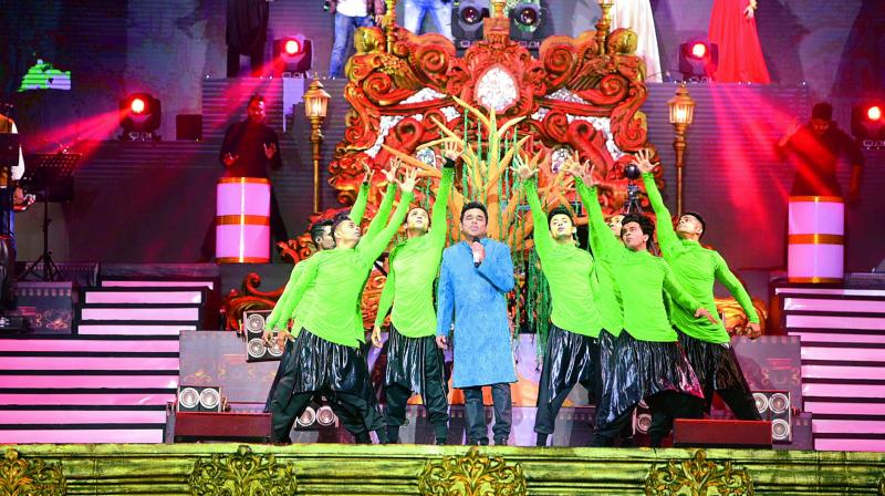 A.R. Rahman put up quite a show for the huge gathering that swayed through the three long hours of his show