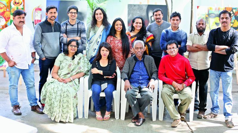 (standing, left to right) Sachin Sagare, Ganapati Hegde, Nishant Dange, Sanjana Reddy, Priyanka Aelay, Bakula Nayak, Ramesh Gorjala, Gundu Anjaneyulu, Hanumanth Rao, Sachin Jaltare (sitting, left to right) Anuradha Reddy, Maduri Baduri, G. Subramanian, Shyamal Mukharjee