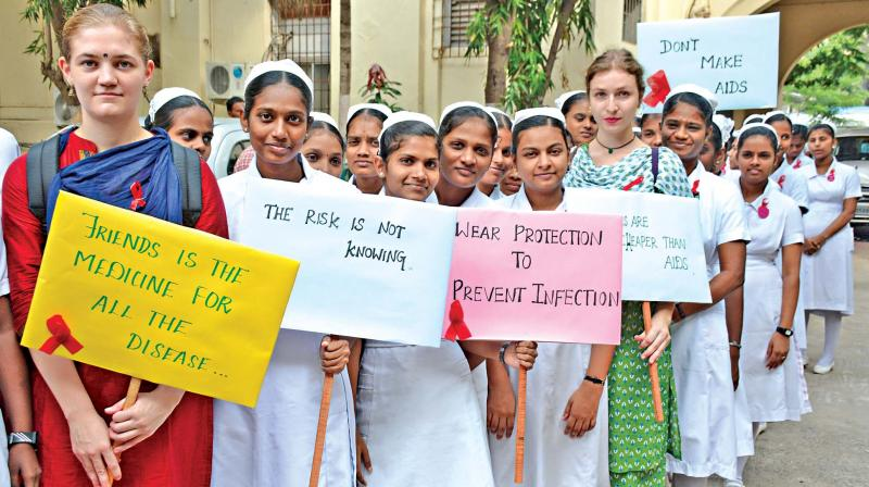Nursing students conduct AIDS awareness rally at Stanley Government medical college on Thursday. (Photo: DC)