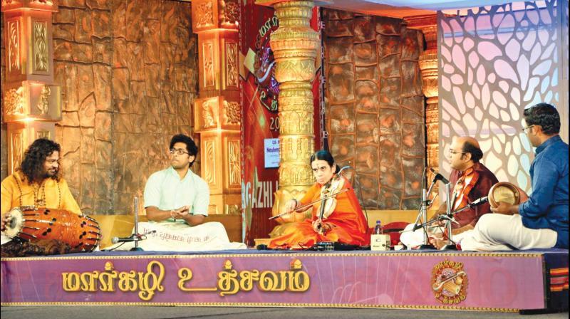 Eminent violinist A. Kanyakumari performing at Margazhi festival organised by Jaya TV at Kumararaja Muthiah Hall, Chettinad Vidyashram School campus, R.A. Puram. (Photo: DC)