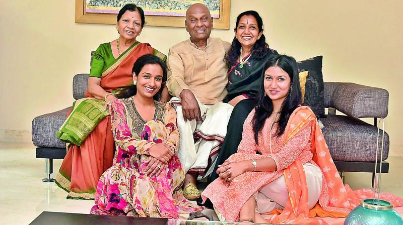 Radha, Raja and Kaushalya Reddy, along with their daughters Yamini and Bhavna Reddy (below)