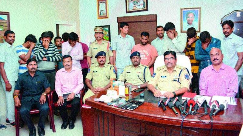 Police officials address the media on Saturday regarding the illegal transport of cattle at Rachakonda.  (Photo: DC)