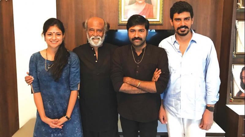 Aditi, Arun and S.R. Prabhu with Rajinikanth