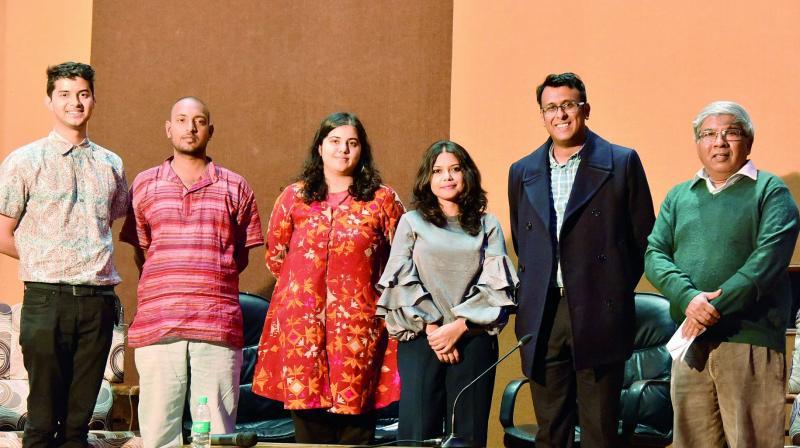 Panelists (from left to right): Gopal Krishna, Vanshikha Singh, Piu Mahapatra, Anmol Gupta and Yeshwant Ramamurthy