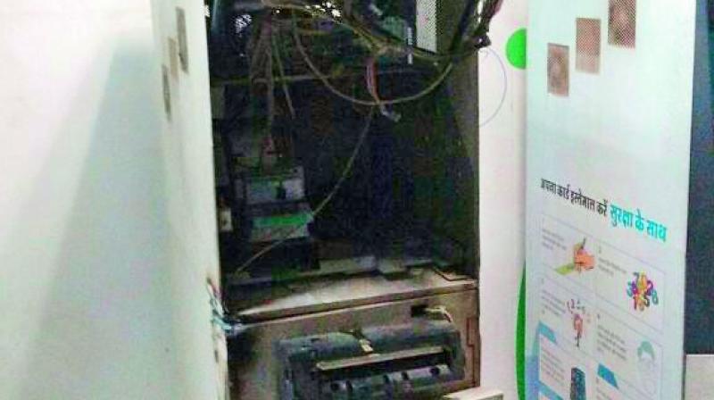 The ATM broken open at Chandanagar.