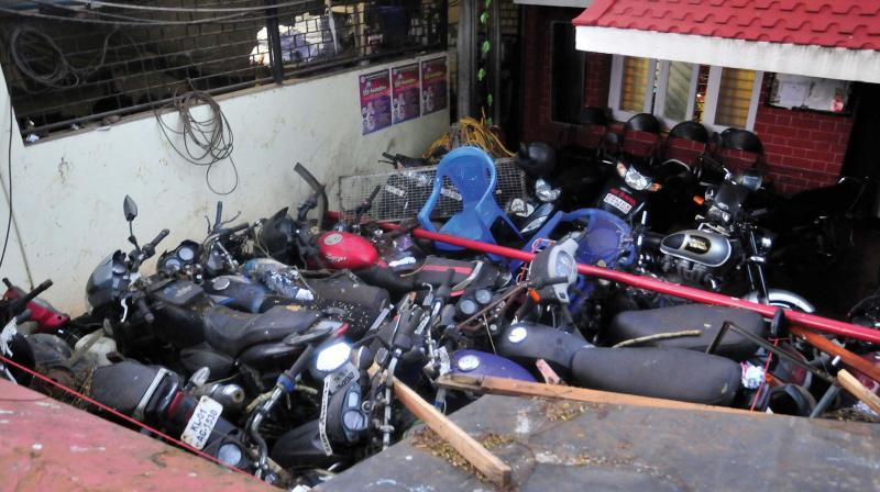 Seized vehicles piled up near Museum police station in Thiruvananthapuram.