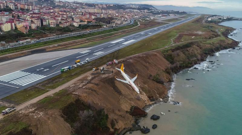 Passenger plane skidded off runway just metres away from sea as it landed at an airport in northern Turkey. (Photo: AFP)