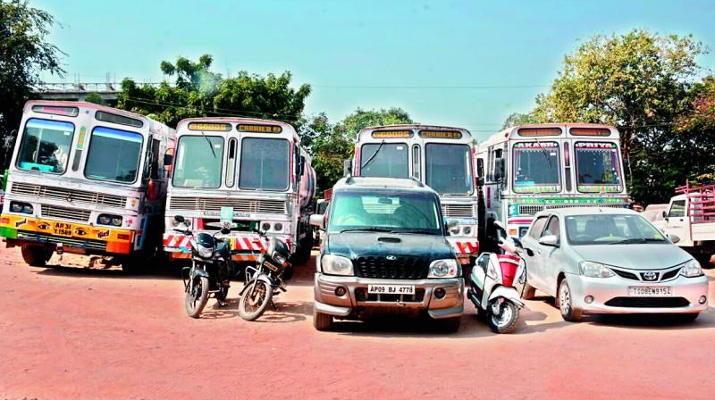 The tankers seized following the blast in Medipally. (Photo:DC)