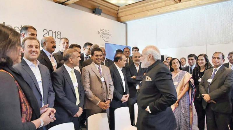 Prime Minister Narendra Modi interacts with Indian CEOs in Davos. (Photo:PTI)
