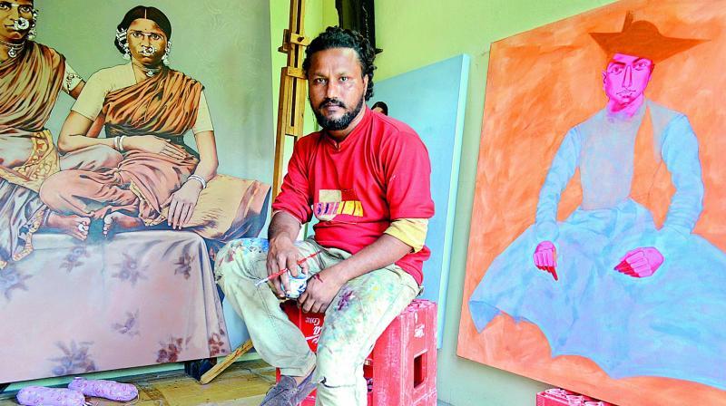 Masuram Ravikanth with his works