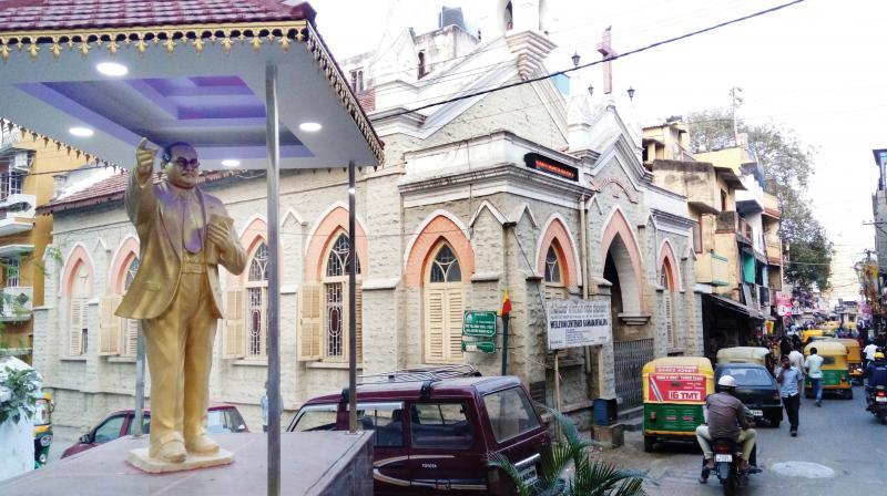 Dr. B.R. Ambedkar statue near Wesleyan Centenary Kannada Devalaya in Ulsoor. (Photo:DC)