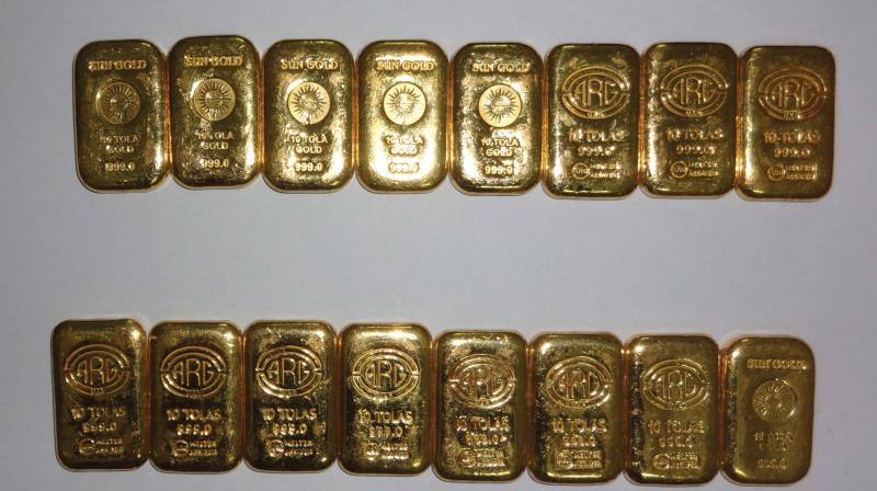 Gold bars seized by customs officials in Mangaluru on Sunday. (Photo:DC)