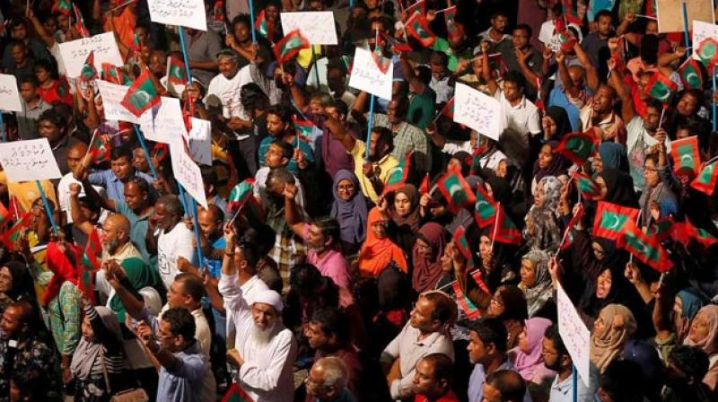 The Maldivian government called 'on all parties to refrain from such calls' and reiterated that it had maintained good relations with India since the country declared its independence. (Photo: AFP)