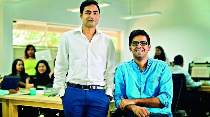 The two co-founders Kumar Abhishek (left) and Vivek Kumar Singh in the office