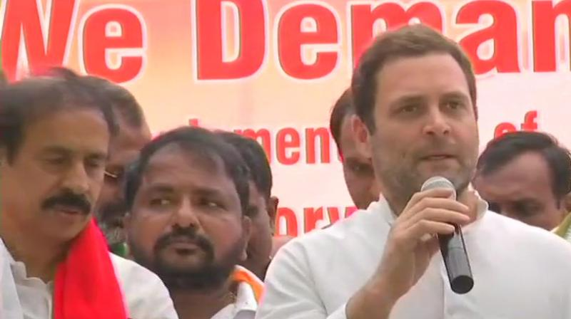 Congress chief Rahul Gandhi met TDP workers, who are protesting at Jantar Mantar over 'special category status' for Andhra Pradesh. (Photo: ANI)