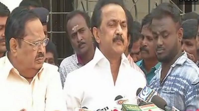 DMK working President MK Stalin claimed he had been approached by Trinamool Congress chief Mamata Banerjee to form a Third Front. (Photo: ANI)