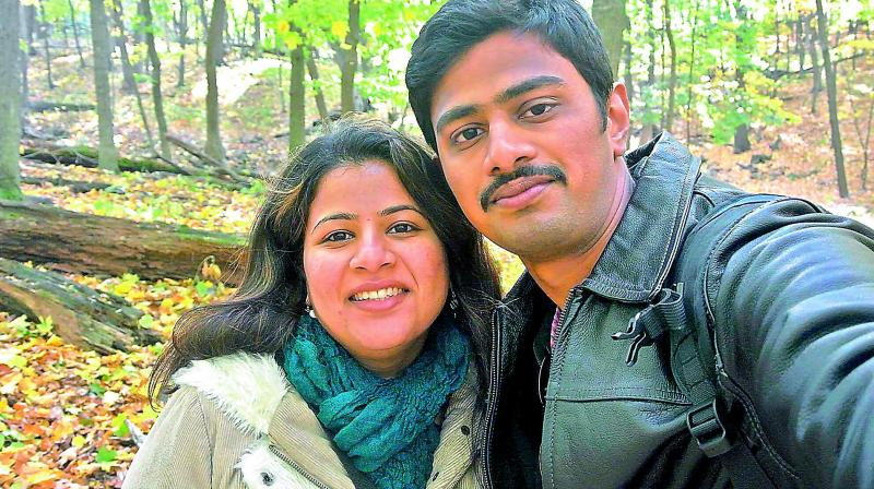 Srinivas Kuchibhotla and his wife Sunayana Dumala in happier times.