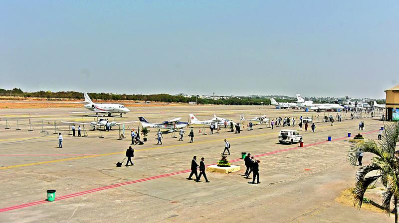 Aircraft parked at the Begumpet airport in Hyderabad during Wings India on Thursday. The biennial event has attracted only 12 smaller aircraft with a seating capacity of two and 19. None of the major commercial aircraft are showcased.  (Photo:Surender Reddy)