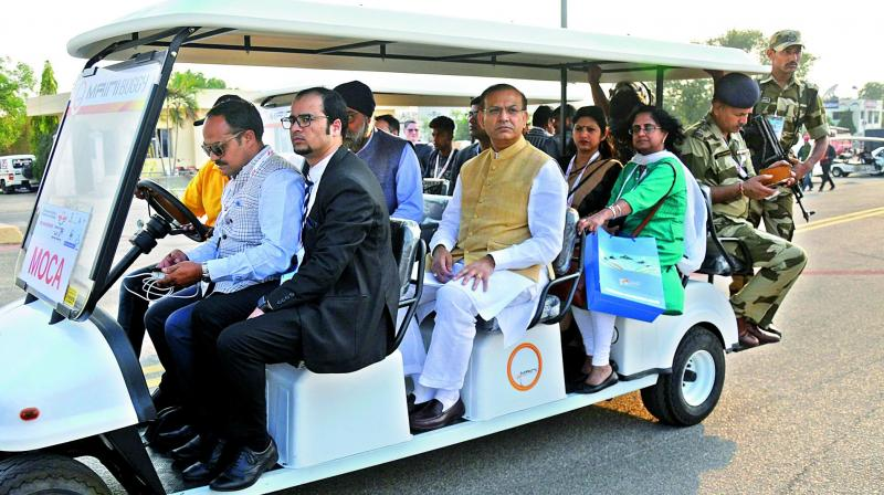 MoS (civil aviation) Jayant Sinha at the Wings India exhibition in Hyderabad on Friday. (Photo:Gandhi)