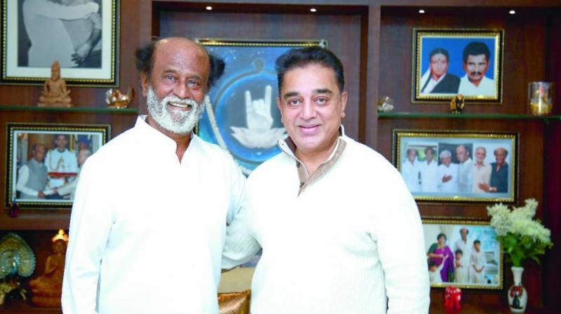 Actors Rajinikanth and Kamal Haasan during a meeting in Chennai. (Photo: DC)