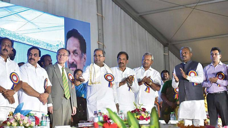 Chief Minister Siddaramaiah laid the foundation stone for the Cauvery Water Supply Phase 1 at Kengeri on Friday. (Photo:DC)
