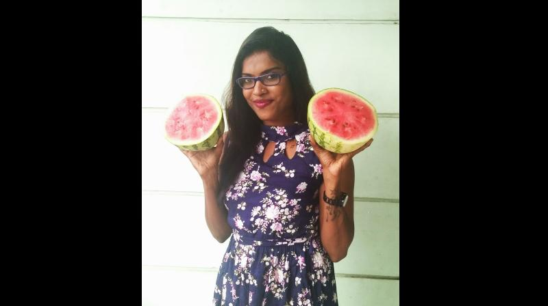 Kochi-based activist Diya Sana also uploaded pictures of a topless woman holding watermelons. (Photo: Facebook/Diya Sana)