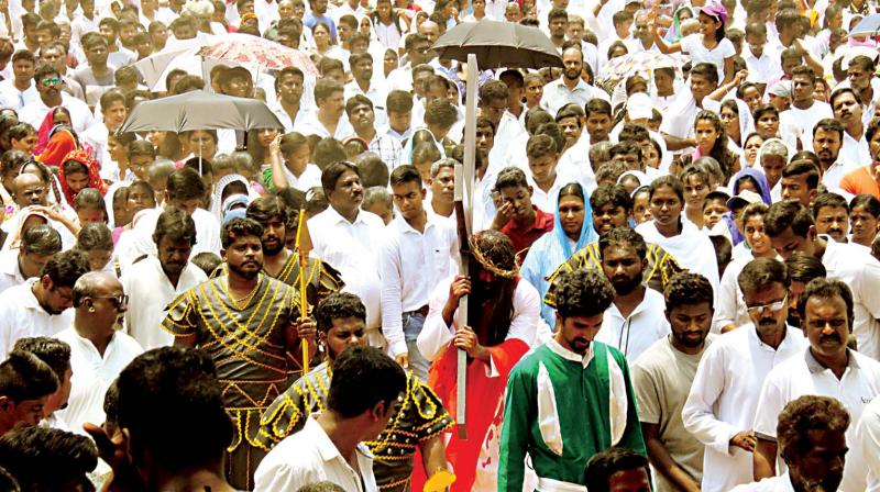 The faithful in Bengaluru enact the crucifixion of Jesus Christ on Good Friday.  (Photo:DC)
